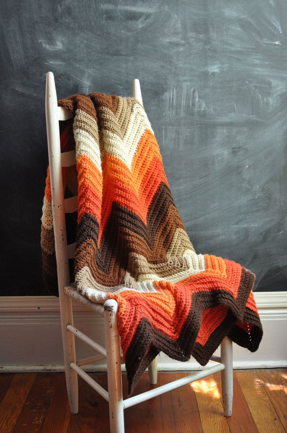 Vintage Afghan Blanket - 70s Crocheted Zig Zag (Warm Fall Colors ...
