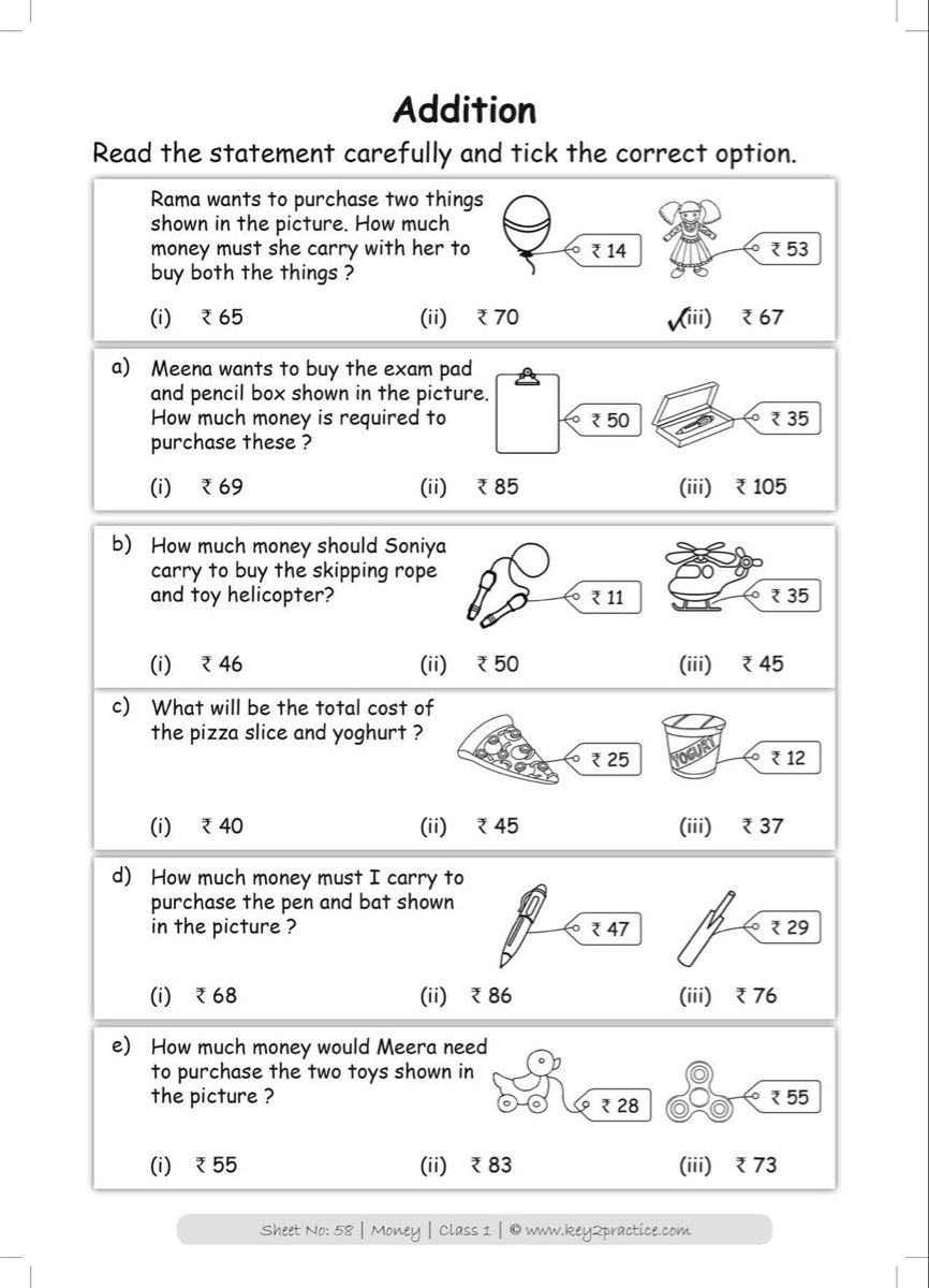 Pin By Nisha Mehta On Class 1 Maths Worksheets Money Worksheets Money Word Problems Math Addition Worksheets Addition and subtraction calculations