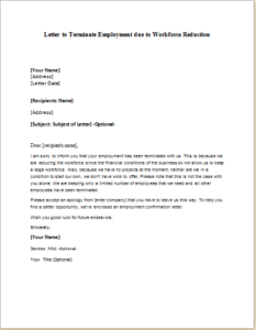Letter To Terminate Employment Due To Workforce Reduction Download