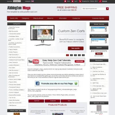 Abbington Mega Free Zen Cart Template Custom Zen Cart Ecommerce Website Design Zen Cart Templa Free Web Design Free Website Templates Ecommerce Website Design