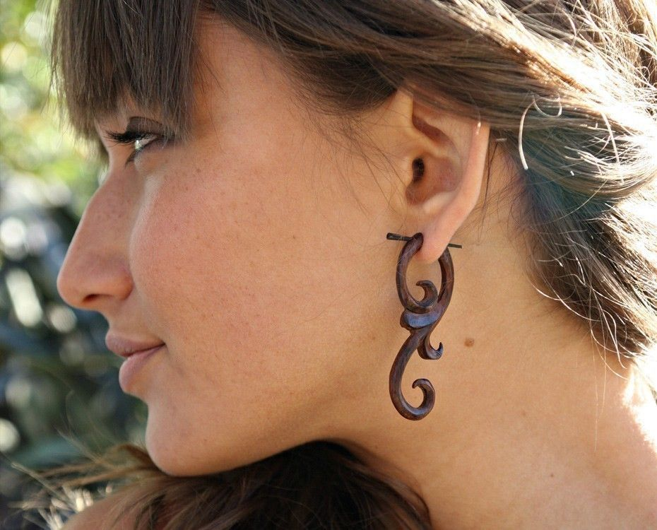 Ma'ayan Curls Organic Wood Post Earrings Brown by TribalStyle, via Etsy.   The gages are fake!