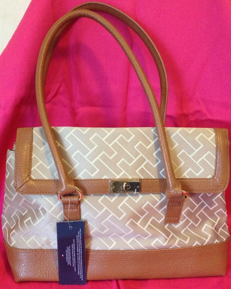 NWT Tommy Hilfiger Camel Brown beige Color Signature Tote Handbag Clutch #TommyHilfiger #TotesShoppers