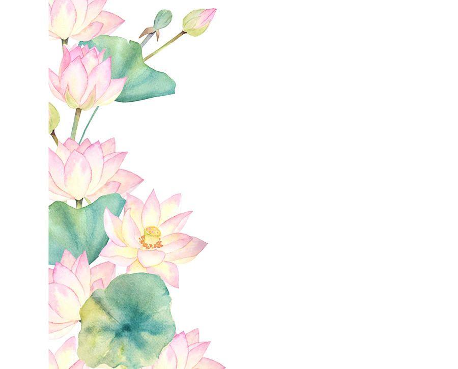 Watercolour Lotus Flower Frame Border Digital Download PNG High ...
