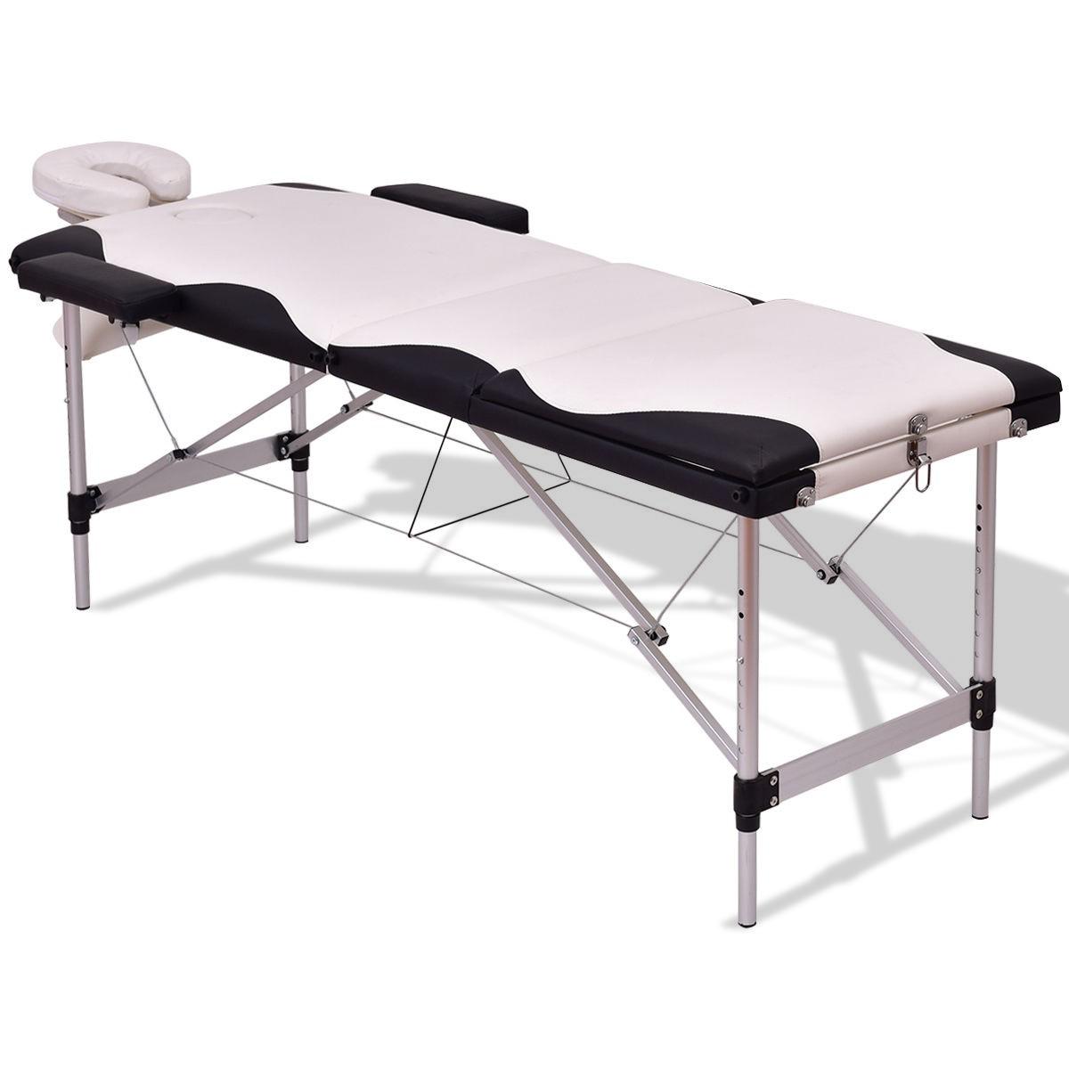 Black White 72 L Portable Massage Table W Carry Case Massage