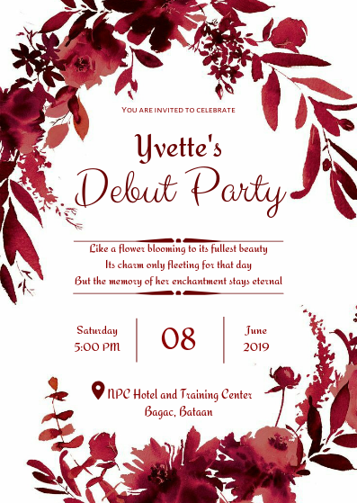 Red Themed 18th Birthday Invitation Flower Wedding Invitation Christmas Invitations Template Wedding Invitations Printable Templates