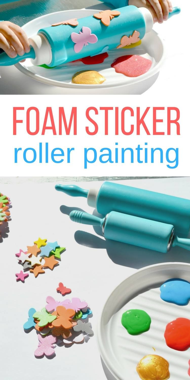 Foam Sticker Roller Painting for Toddlers - No Time For Flash Cards