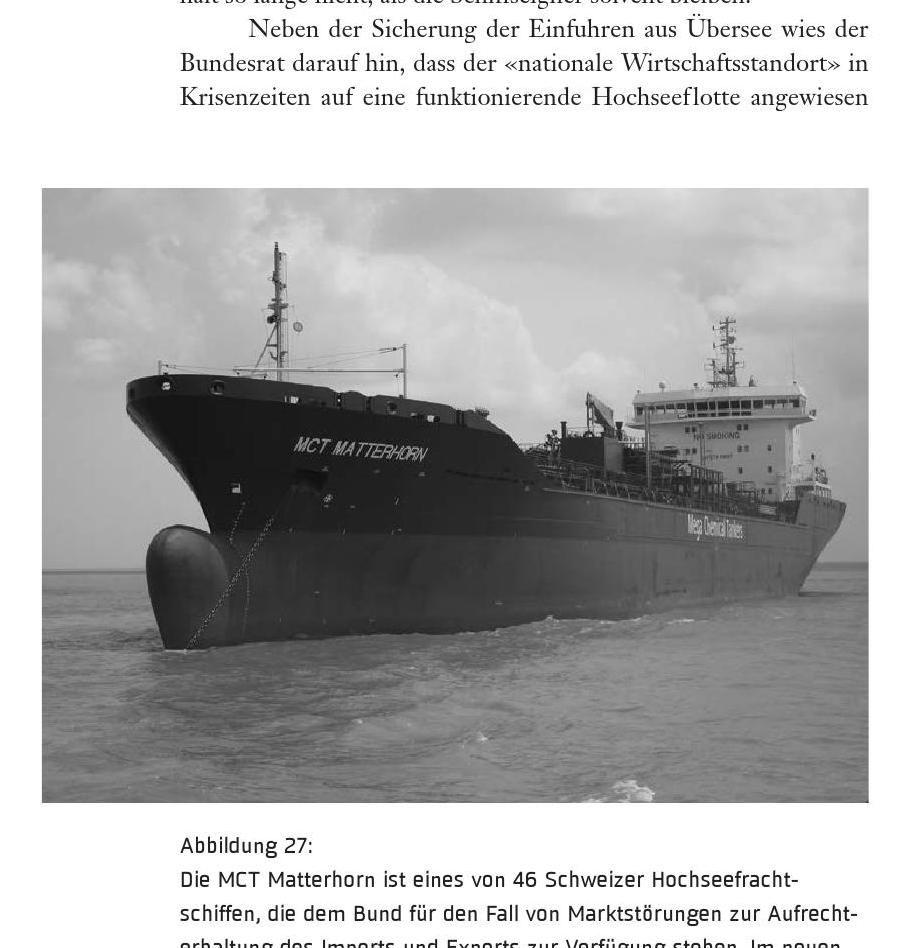 Eines der Schiffe der schweizerischen Hochseeflotte. Bild aus: Maurice Cottier: Liberalismus oder Staatsintervention, erschienen im Oktober 2014 im Verlag NZZ Libro