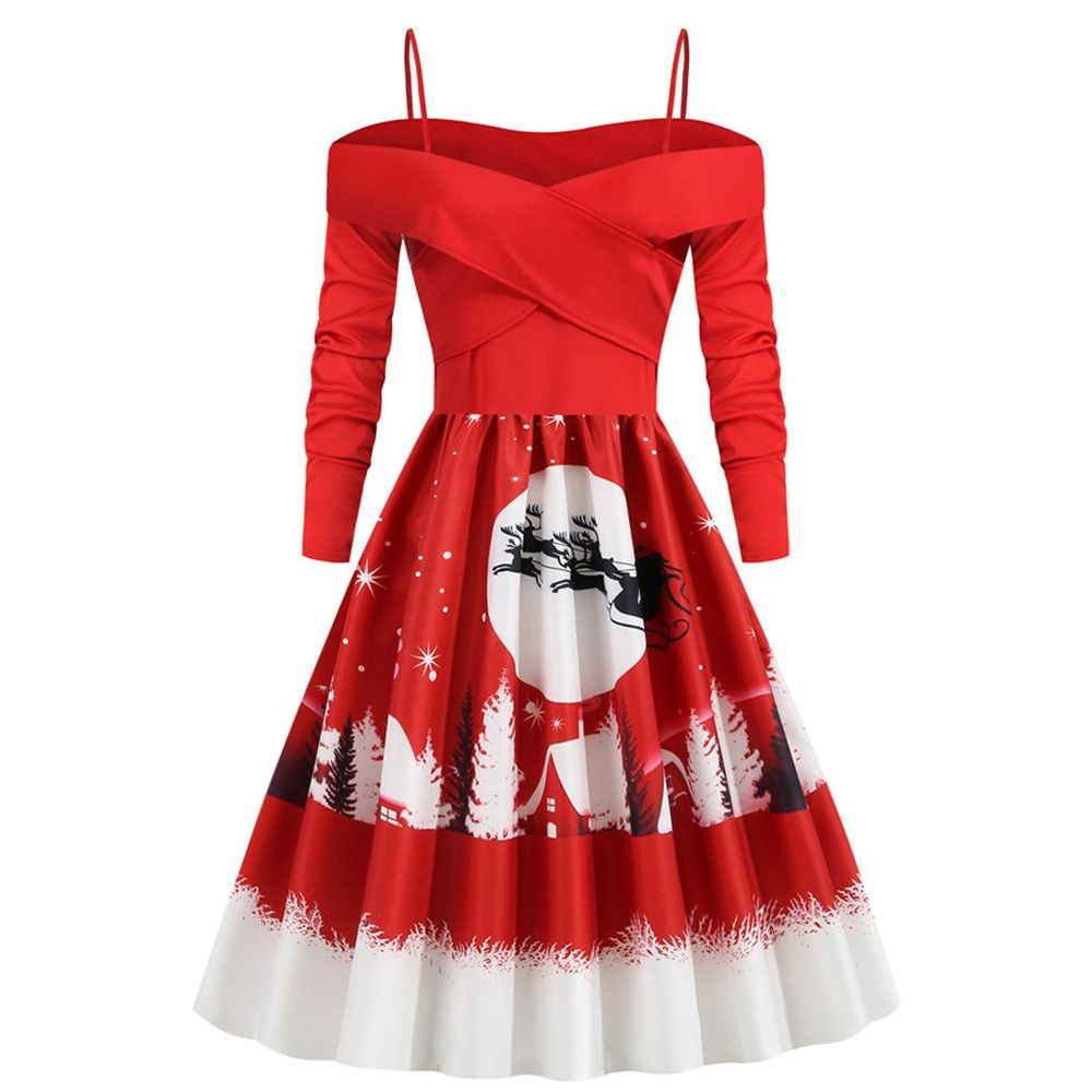 Tuscom Women S Vintage Print Long Sleeve Strapless Christmas Evening Party Swing Dress Women S A Line Dresses Knee Length Dresses Cheap Knee Length Dresses [ 1000 x 1000 Pixel ]