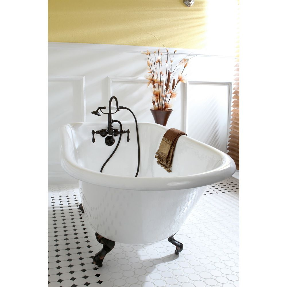 Classic Roll Top Petite 54-inch Cast Iron Clawfoot Tub with Tub Wall ...