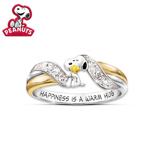 Snoopy and Woodstock Pendant and Ring Set Size 8