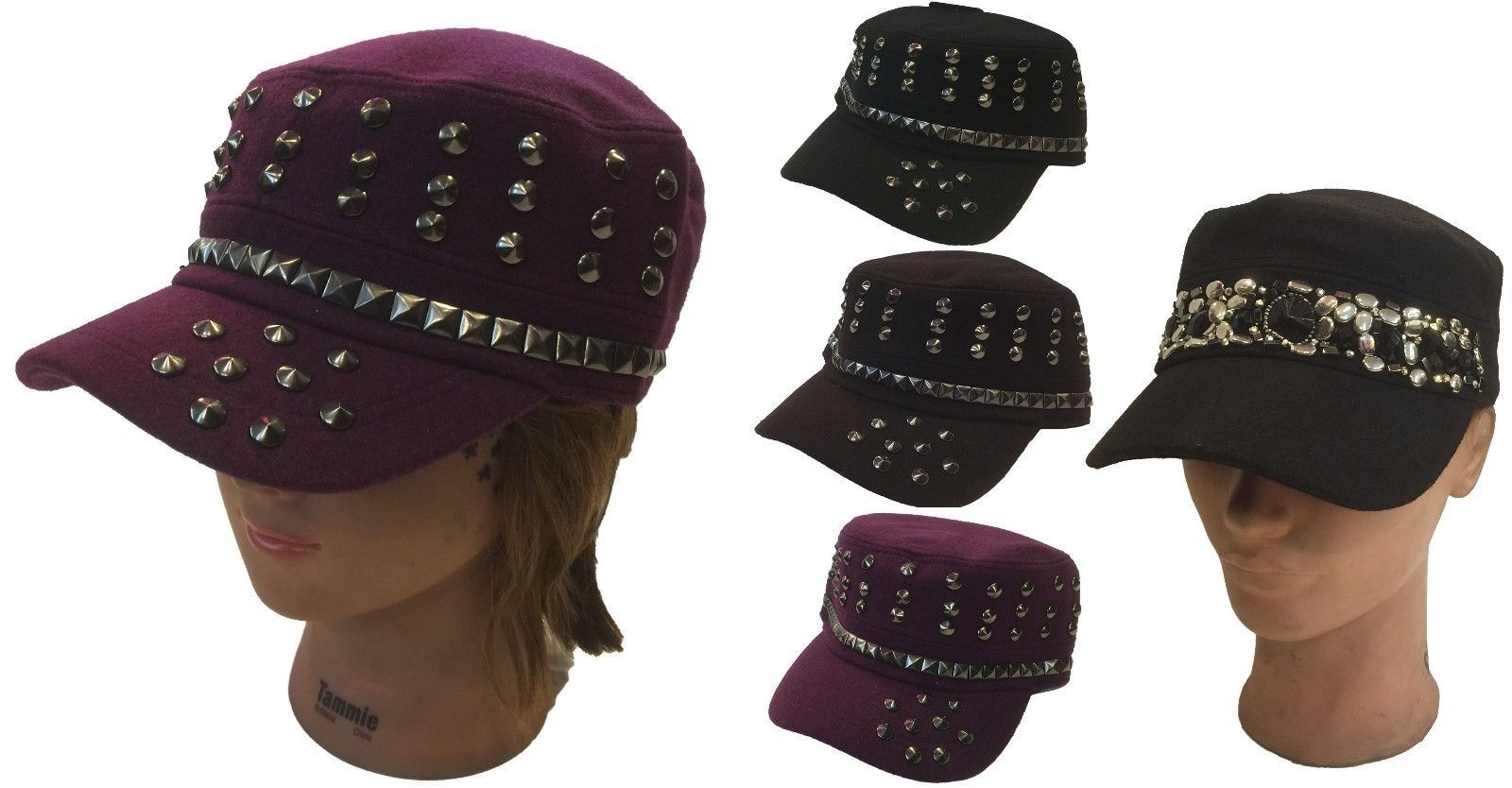 Lady Women Cadet Box Cap Army Military Fashion Castro Metal Rivet Wool Hat  Cap 81890f610d