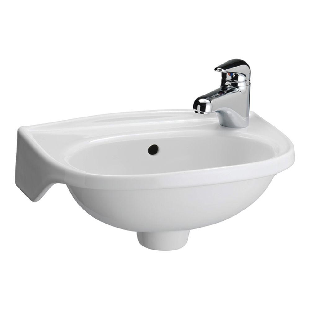 Tina Wall Mounted Bathroom Sink In White 4 551wh The Home Depot Small Bathroom Sinks Wall Mounted Bathroom Sinks Wall Mounted Sink