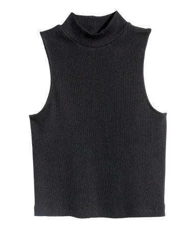 512e603147 Negro. Camiseta corta en punto de canalé