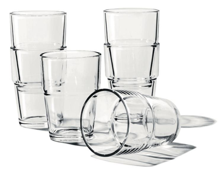 The perfect drinking glass should be heavy, large-ish and stackable. Ikea probably does more harm than good in many ways, but they clearly know a good glass when they see one.