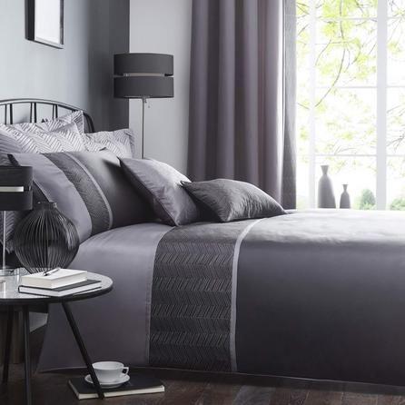 Owen Embroidered Black Duvet Cover Black Duvet Cover Black Duvet Bed Linens Luxury