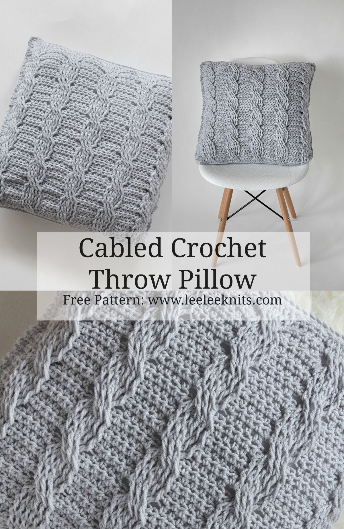 Crochet Cabled Throw Pillow Pattern | Almohadas a Crochet ...