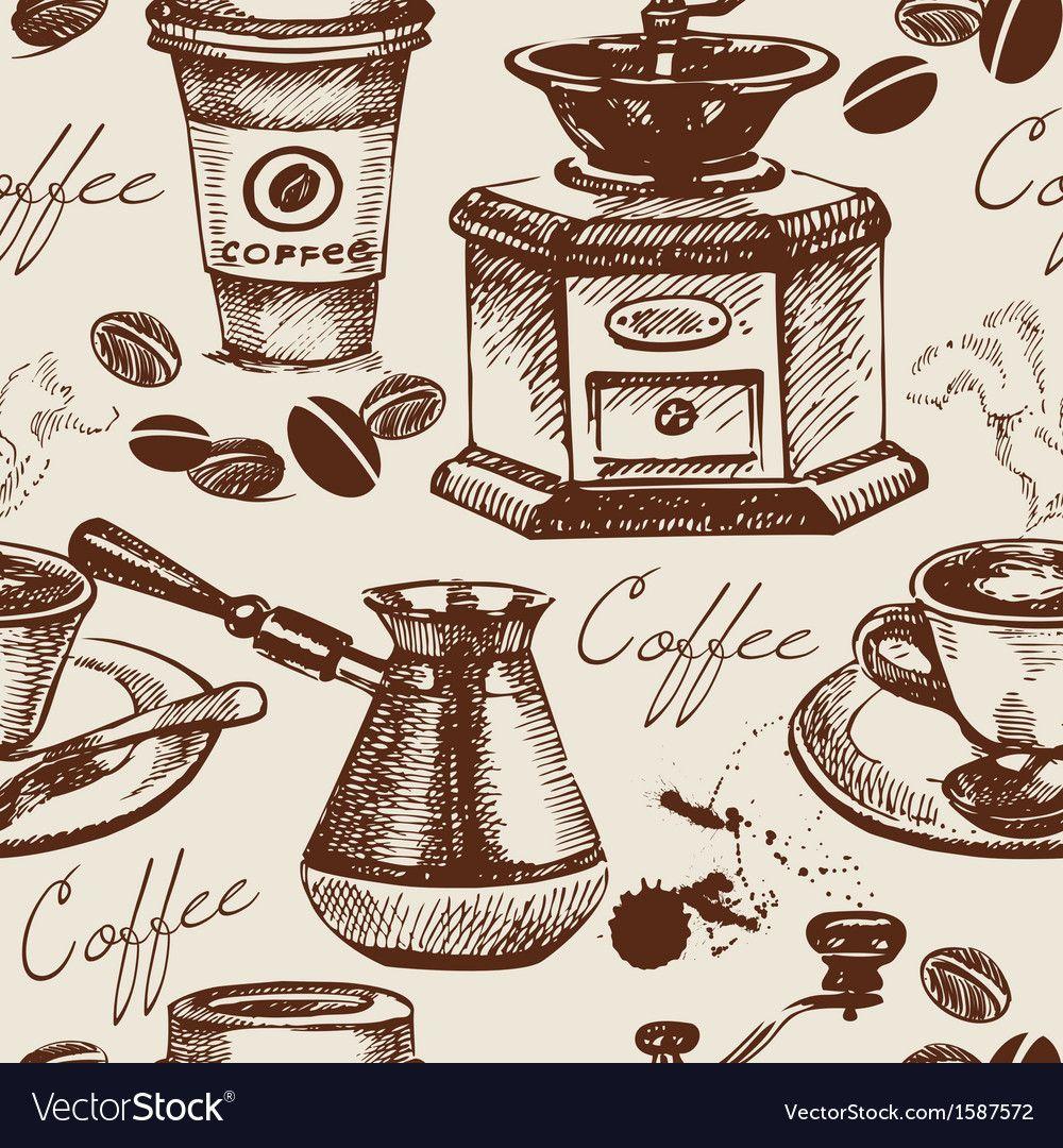 Hand Drawn Vintage Coffee Seamless Pattern Vector Image On Vectorstock Seamless Pattern Vector Vintage Wallpaper Patterns Seamless Patterns