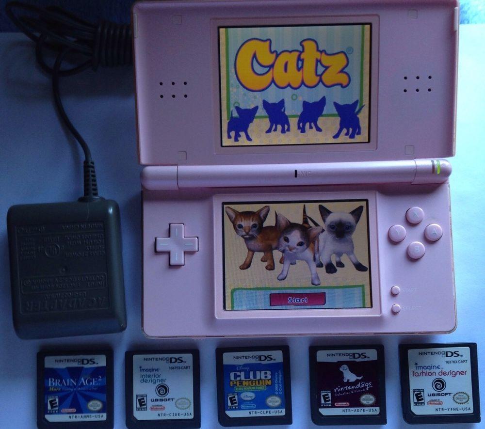 Nintendo DS Lite Coral Pink Bundle Brain Age 2 Dogs Catz 6 Games
