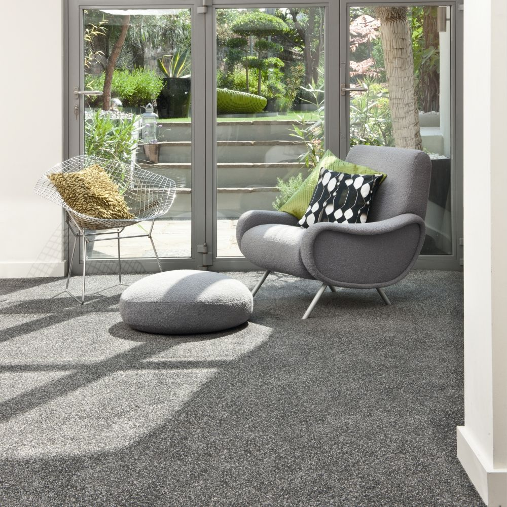 a shade of grey carpet for a bright summer's day. love everything