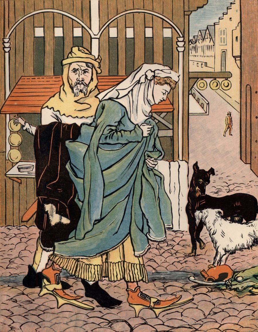 A Lady Crossing The Street In Olden Time Robbin Library Digital Project Canterbury Tale Chaucer Medieval History Theme Of Good Morrow By John Donne