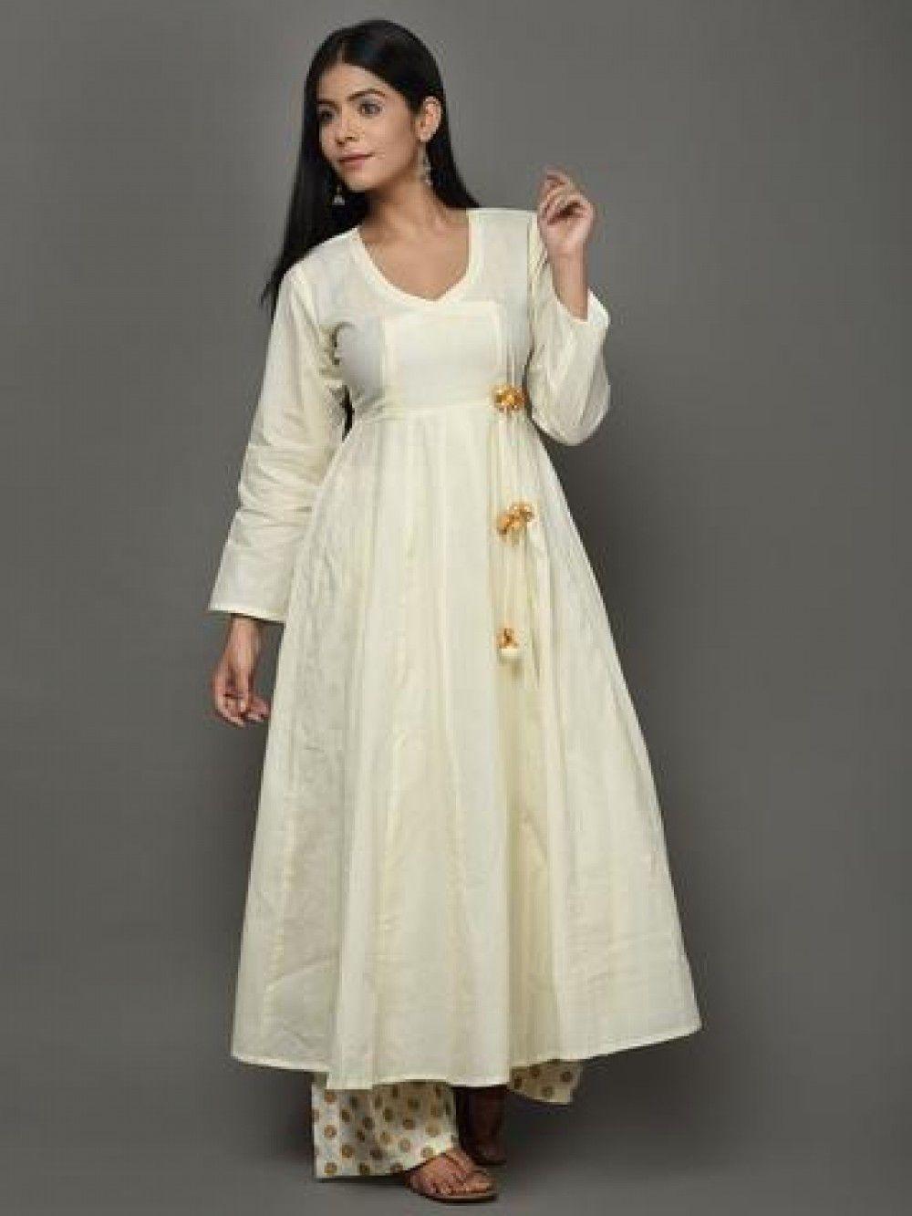 66df67c15d Off White Golden Angrakha Cotton Anarkali Suit - Set of 3 | Salwar ...