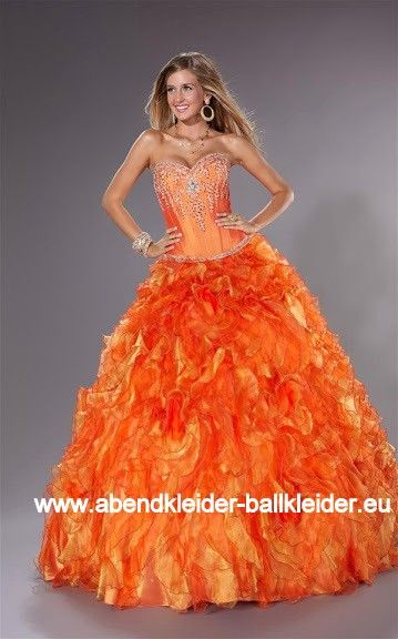 Luxus Abendkleid Ballkleid Brautkleid in Orange | Ballkleider 2018 ...
