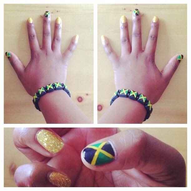 Carnival nails, Jamaican flag, shellac | Swag nails ...