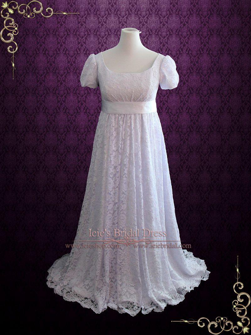 Edwardian Regency Style Empire Waist Lace Wedding Dress Harriet Lace Overlay Wedding Dress Wedding Dresses Lace Ball Gowns Wedding
