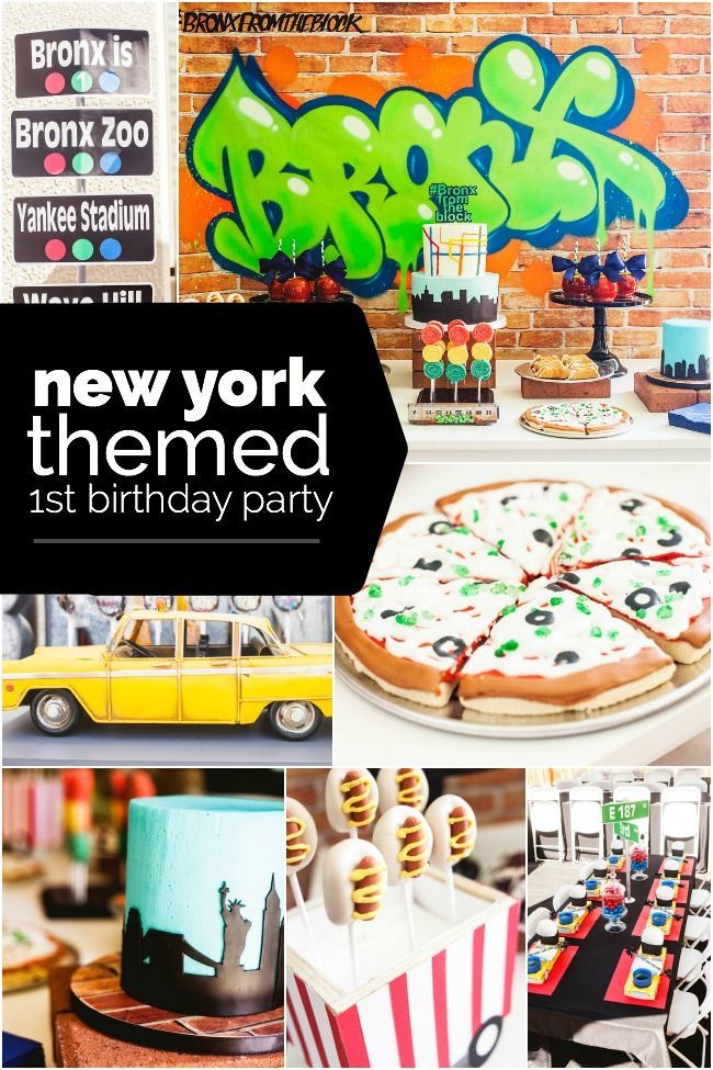 A New York City Inspired First Birthday Party Boy Birthday Party New York Theme Party New York Party New York Theme