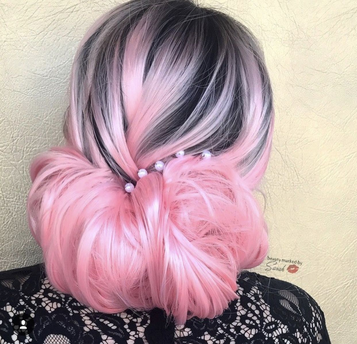 pink and black hair in a bun | pink hair inspo | pinterest | black