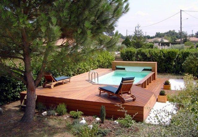 Piscine hors sol bois id es et conseils pour votre jardin spa - Escalier bois pour piscine hors sol ...
