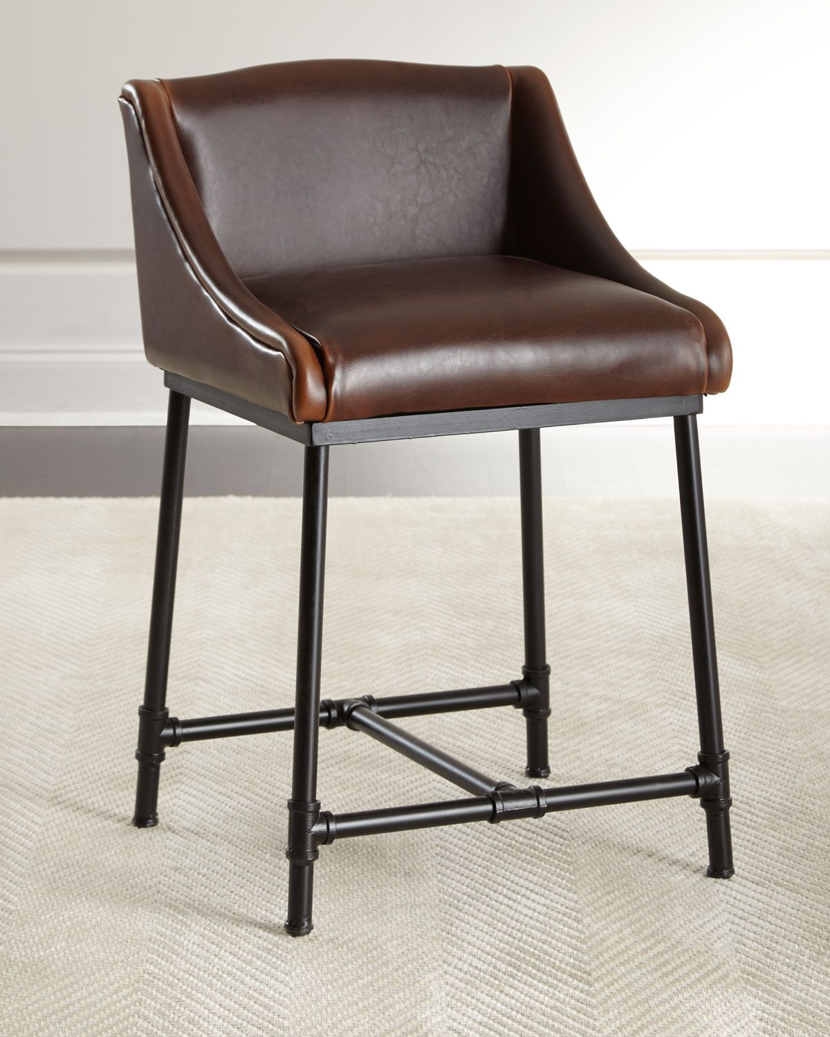 Peachy Fairfield Leather Counter Stool Horchow Leather Evergreenethics Interior Chair Design Evergreenethicsorg
