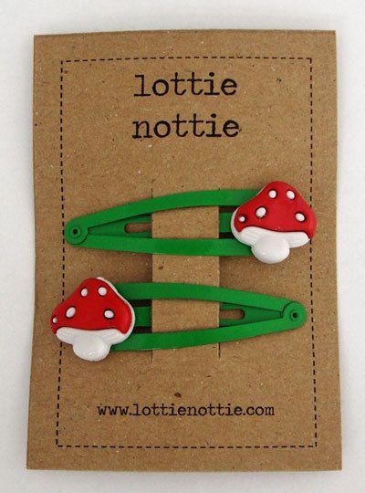 Toadstools on green hair clips by lottienottieshop on Etsy, £3.00