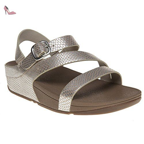 FitFlop The Skinny Toe-Post Sandals Femmes - Argent Serpent, Argent, 36