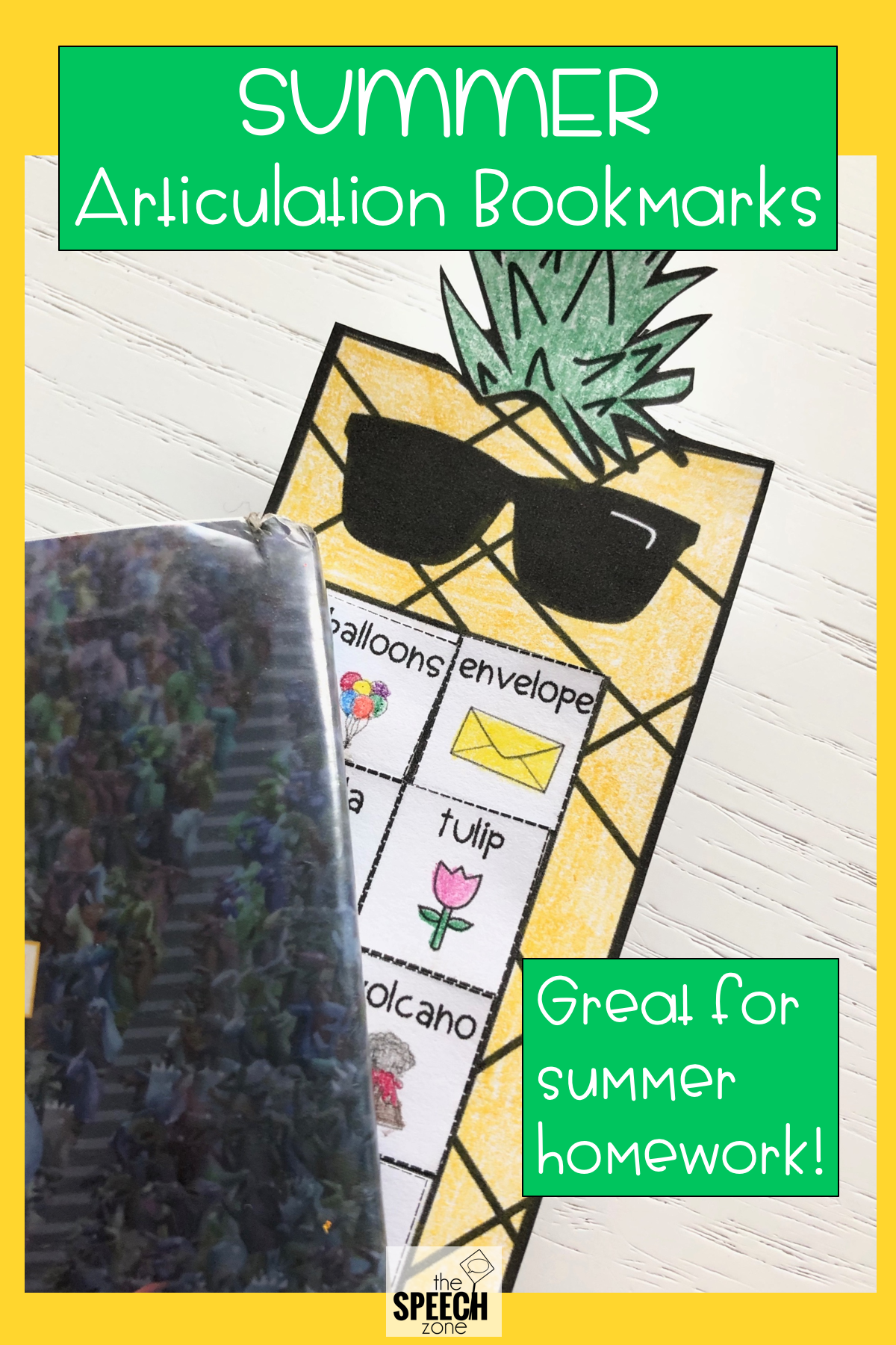 Summer Pineapple Themed Articulation Bookmarks