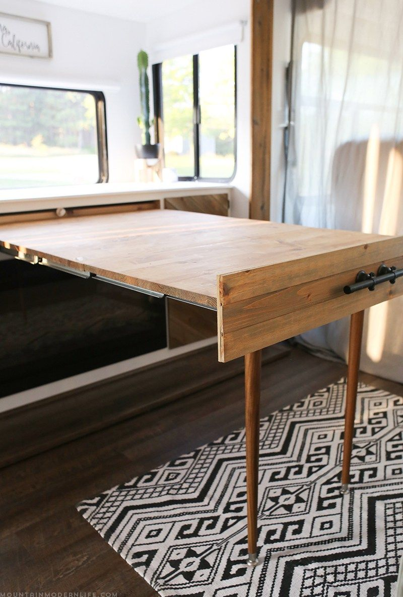 Custom Rv Dining Table Converts To Fold Out Murphy Bed Rvs