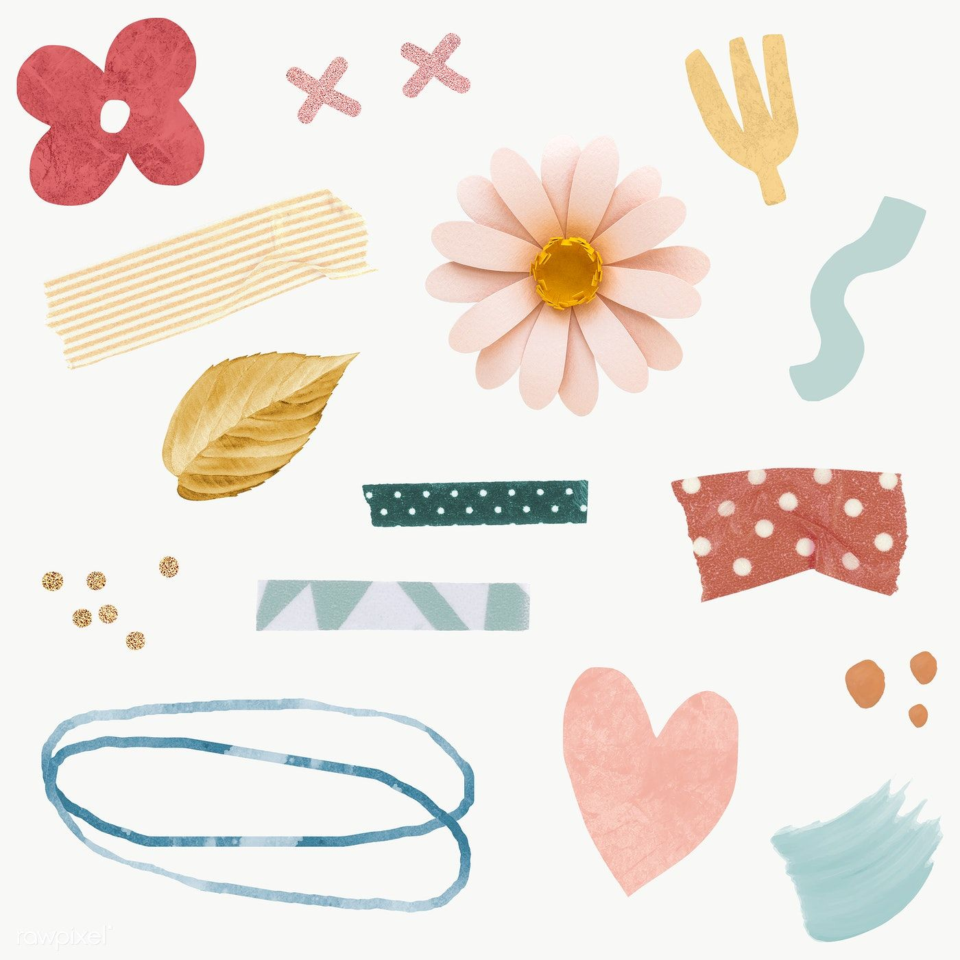 Floral And Washi Tape Stickers Pack Transparent Png Premium Image By Rawpixel Com Ningzk V Free Hand Drawing Floral Border Design Stickers