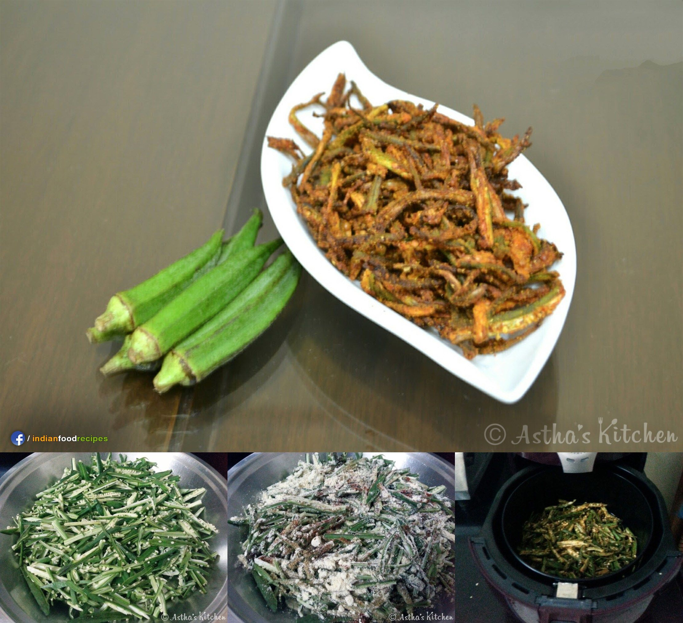 Kurkuri Bhindi (Okra) In Air Fryer recipe step by step
