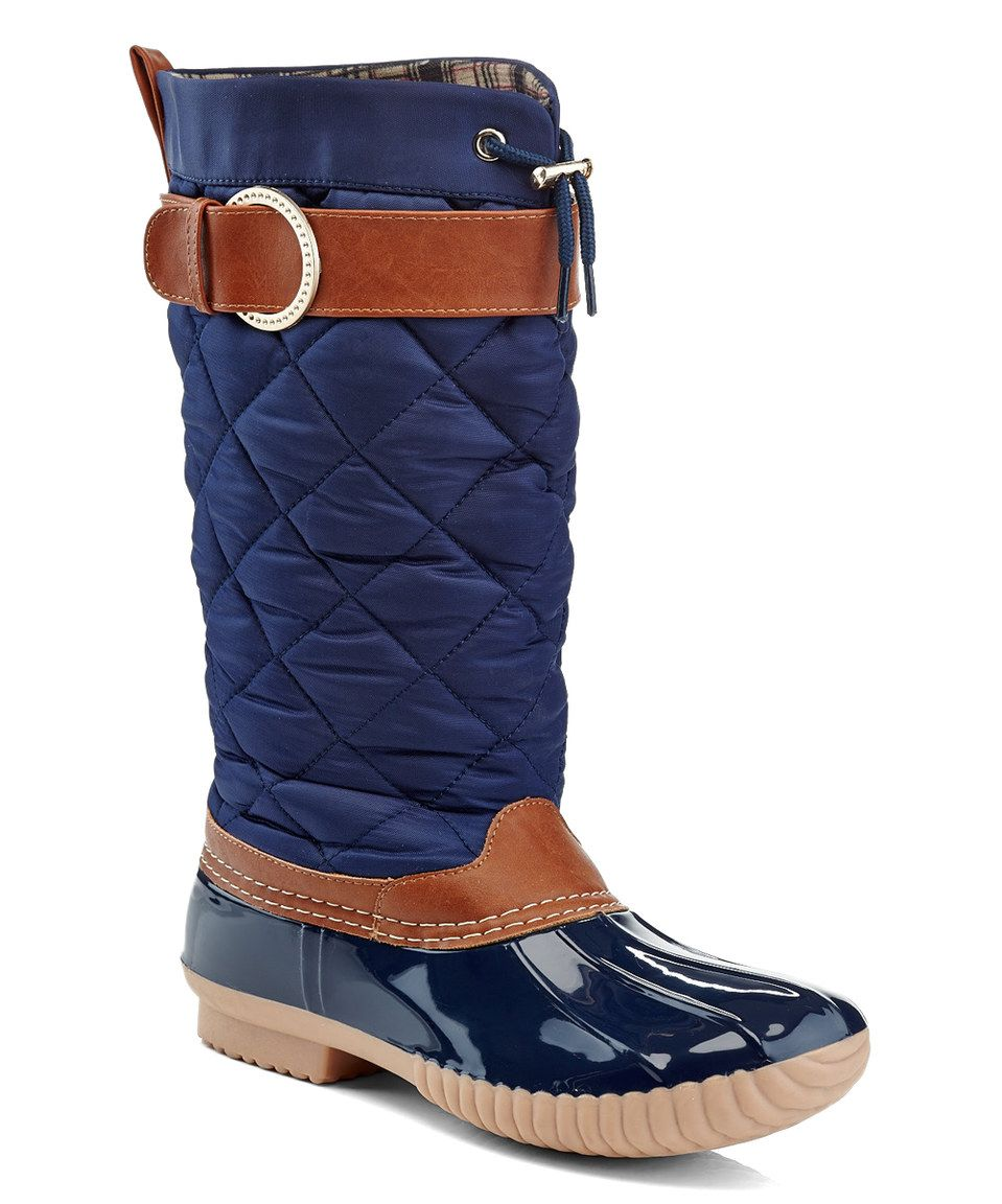 Take a look at this Charming Lady Navy & Cognac Quilted Rain