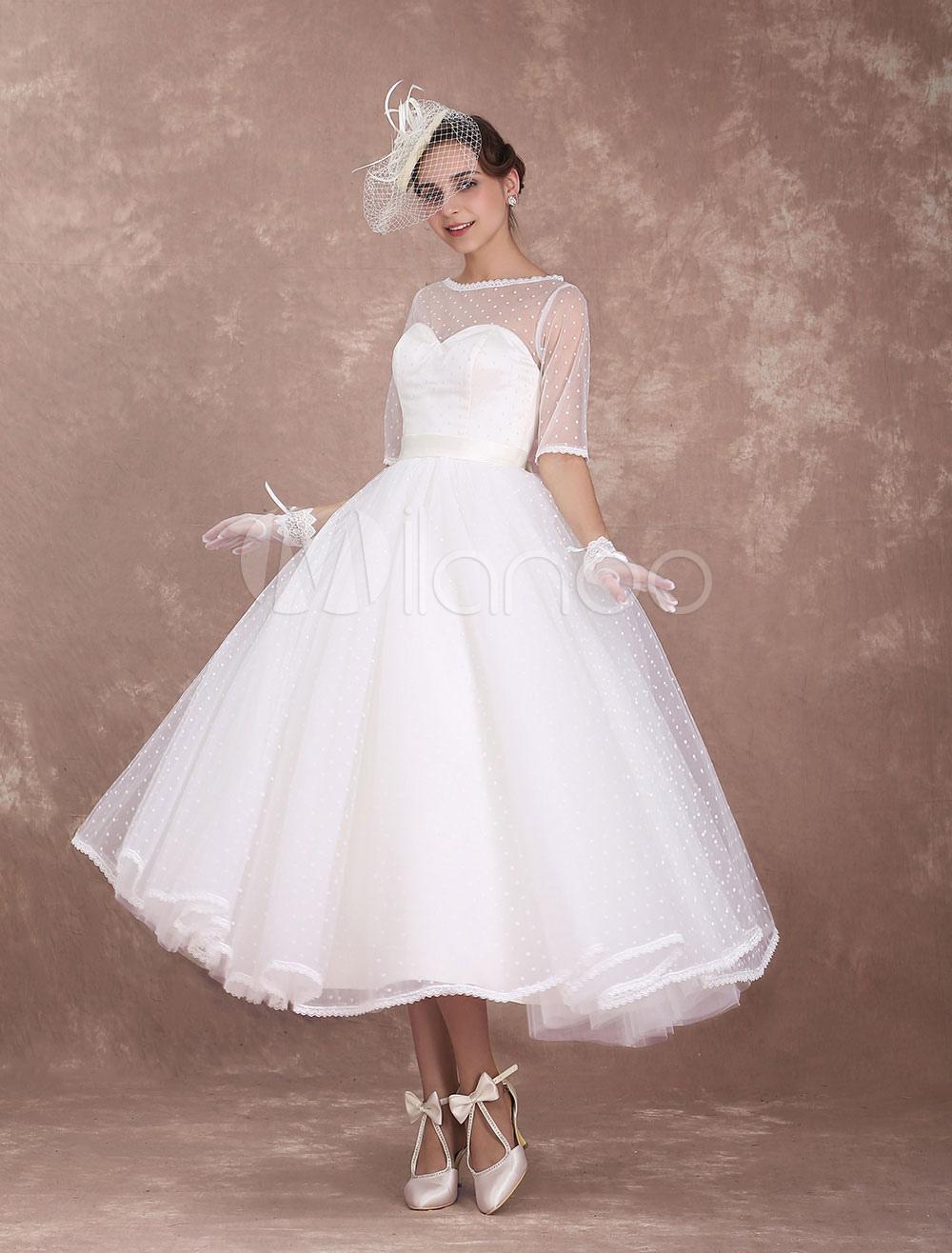 Brautkleider Vintage A-Linie- Elfenbeinfarbe mit Bateau-Kragen
