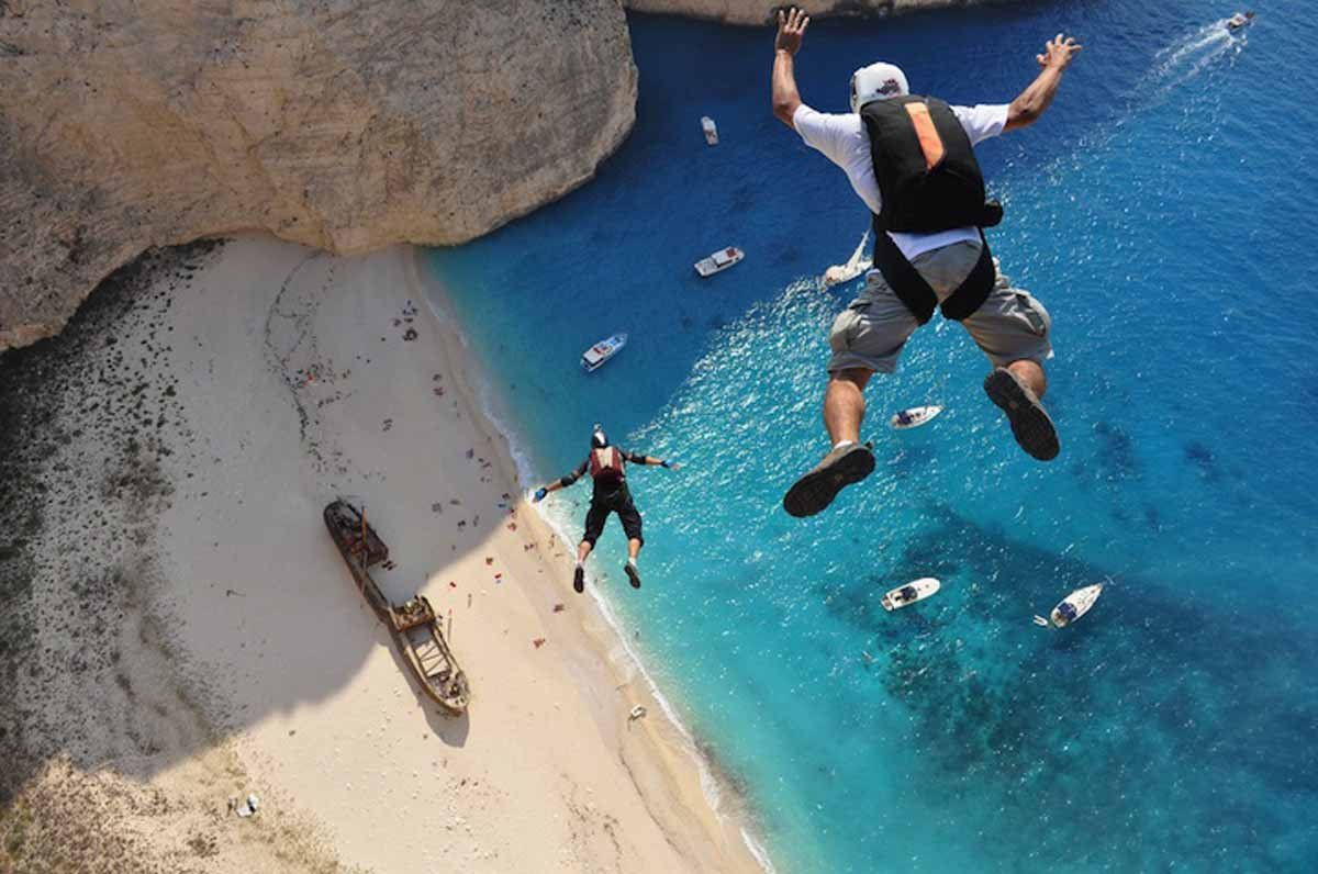 Hubert Schober and Kedley Oliveti take the plunge in Zakynthos, Greece (Photographed by Dimitrios Kontizas).