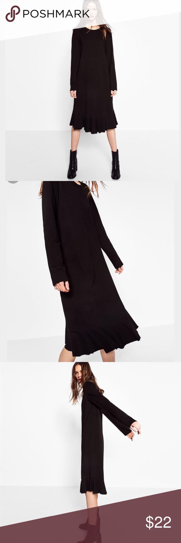 Zara Plush Dress With Ruffle Bottom Dress Brands Zara Black Zara [ 1740 x 580 Pixel ]
