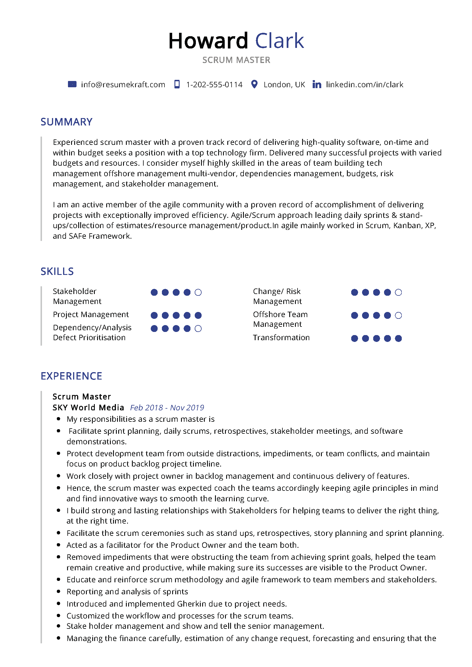 23++ Scrum master resume template Resume Examples