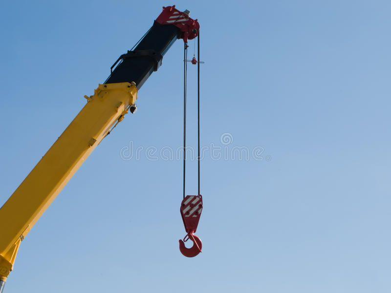 Crane hook Building crane boom with steel hook