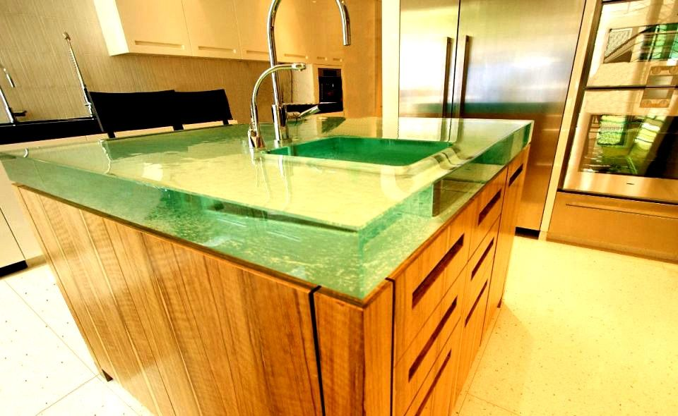 Large Glass countertops. Plus they can backlight the countertops to make  them glow. Cool