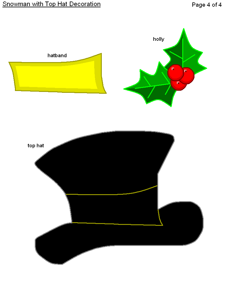 Top Hat Printable Pattern  FREE Printable Christmas Snowman with