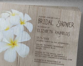 Rustic Plumeria Bridal Shower Invitation
