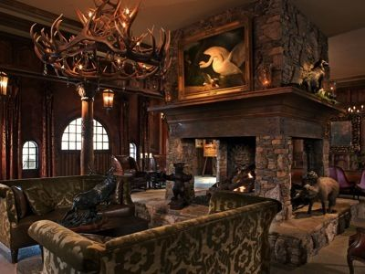 Traditional hunting lodge old world gentleman 39 s club for Hunting cabin decorating ideas