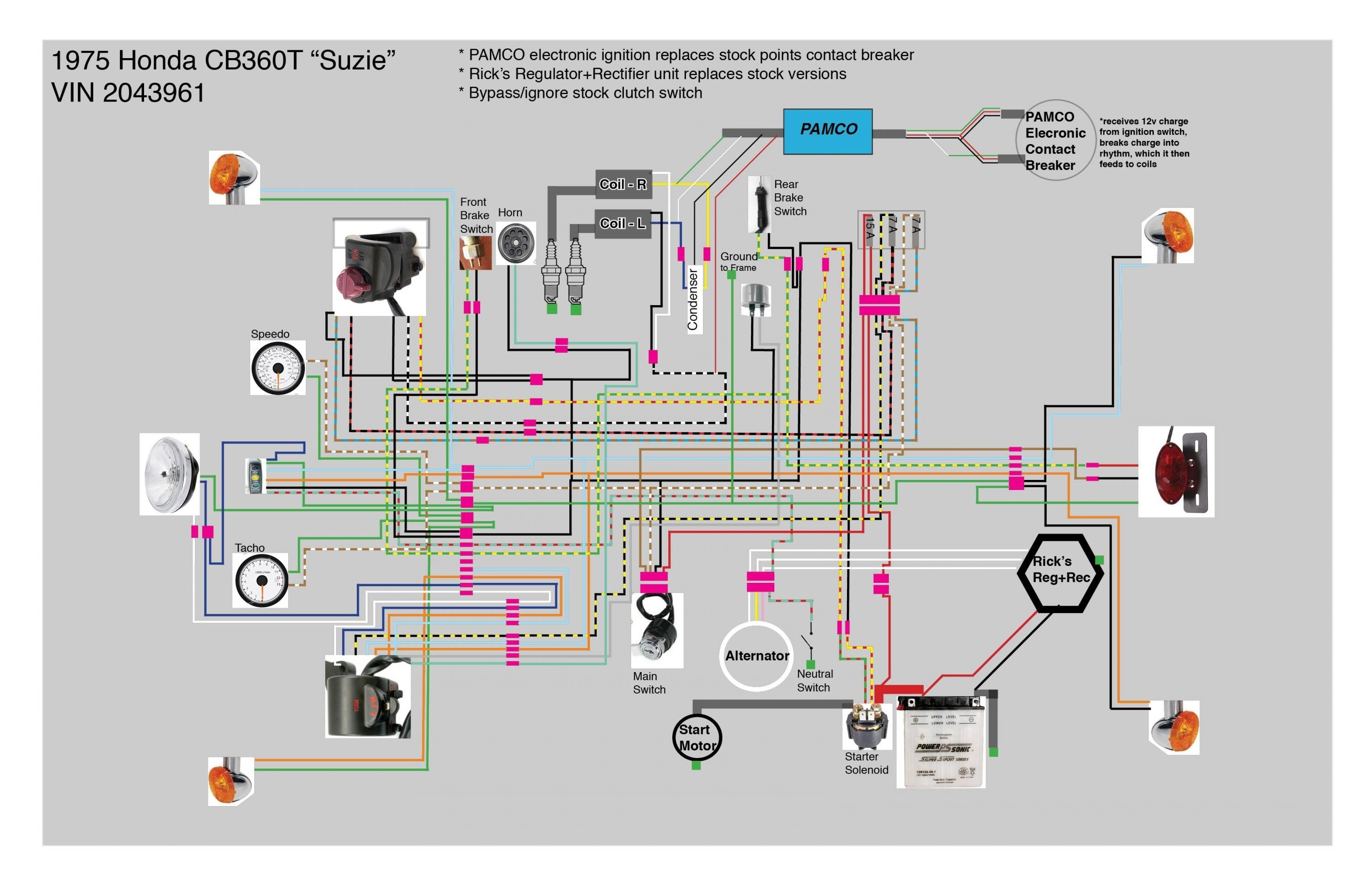 Cb360T - Better Cleaner Wiring Diagram intended for Cb360 ... on