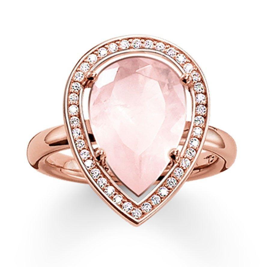 Thomas Sabo Rose Gold Plated Pear Shape Rose Quartz Cubic Zirconia Ring Tr2043 537 9 Rose Gold Quartz Pear Shaped Ring Rose Quartz Ring